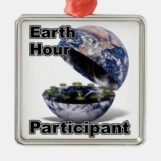 Earth Hour Participant Silver-Colored Square Decoration