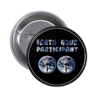 Earth Hour Participant w Clocks Pin