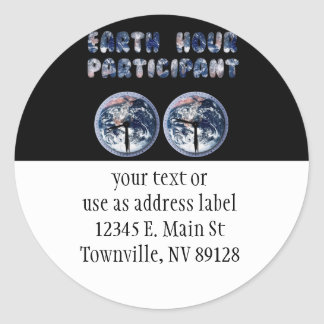 Earth Hour Participant (w/Clocks) Round Sticker