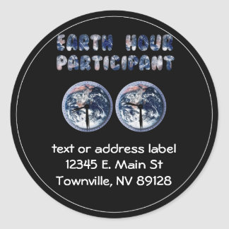 Earth Hour Participant (w/Clocks) Stickers