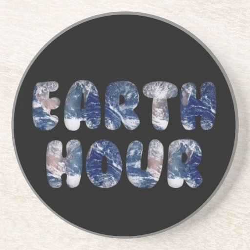 Earth Hour Text Image Drink Coaster