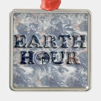 Earth Hour Text w/Earth Clock Christmas Tree Ornament
