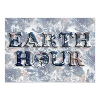 Earth Hour Text w/Earth Clock Personalized Invitation