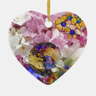 Earth in a New life Ceramic Heart Decoration