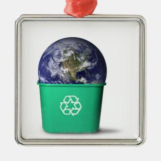 Earth in a recycle bin metal ornament