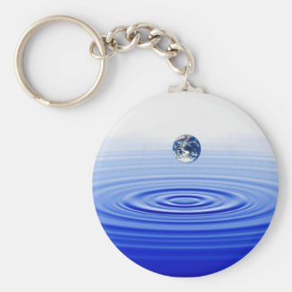 earth in a  water drop key ring