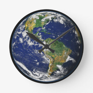 Earth In Space Acrylic Round Clock