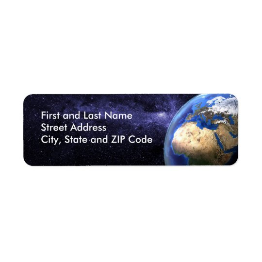 Earth in space return address label