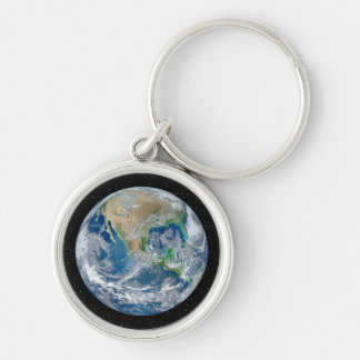 Earth In Star Field - Multiple Products Silver-Colored Round Key Ring