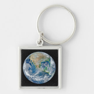 Earth In Star Field - Multiple Products Silver-Colored Square Key Ring