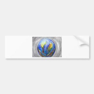 Earth in the cradle (earth surrealism) bumper sticker