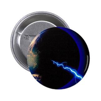 Earth lightning strike pinback buttons