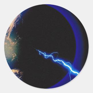 Earth, lightning strike stickers