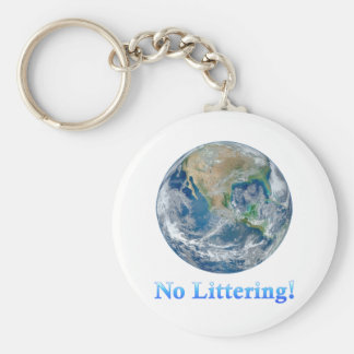 Earth No Littering - Multiple Products Basic Round Button Key Ring