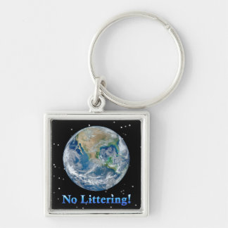 Earth No Littering - Multiple Products Silver-Colored Square Key Ring