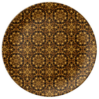 Earth Octagons PAttern Porcelain Plates