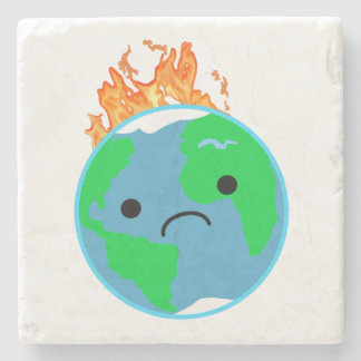 Earth On Fire Stone Coaster