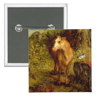Earth or The Earthly Paradise, detail of a cow, po 15 Cm Square Badge
