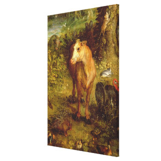 Earth or The Earthly Paradise, detail of a cow, po Canvas Print