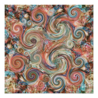Earth Pastel Swirls Colorful Print