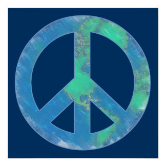 Earth Peace Sign Poster