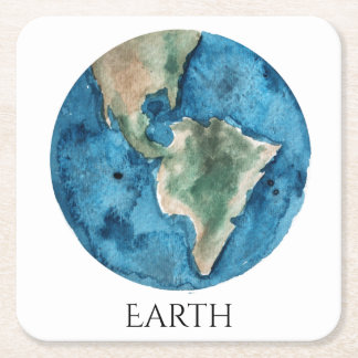 Earth Planet Watercolor Coaster