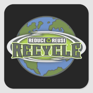 Earth Reduce, Reuse and Recycle Square Sticker