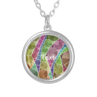 Earth Tone Bling Abstract Pattern Round Pendant Necklace