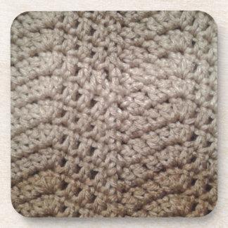 Earth tone chevron zig zag crochet style coaster