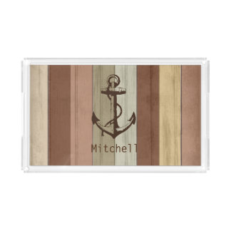 Earth Tone Nautical Weathered Wood Anchor Acrylic Tray