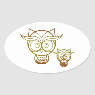 Earth Tone Owls Oval Stickers