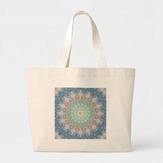Earth Tone Pastels Mandala Large Tote Bag