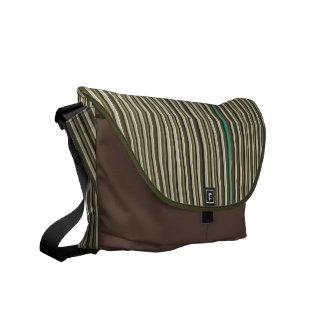 Earth Tone Pin Stripes Mens Messenger Messenger Bag