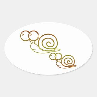 earth tone snails oval sticker
