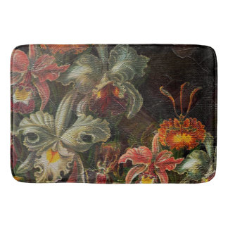 Earth Tone Vintage Flowers Bath Mat