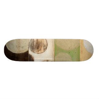 Earth Tone Wood Panel Painting with Circles Custom Skateboard
