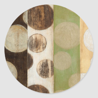 Earth Tone Wood Panel Painting with Circles Round Sticker