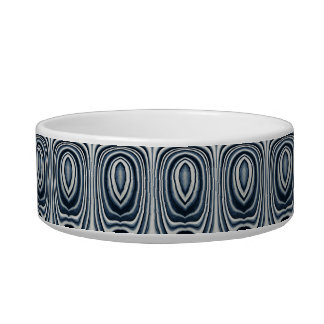 Earth Toned Blue Abstract Pattern Cat Water Bowls