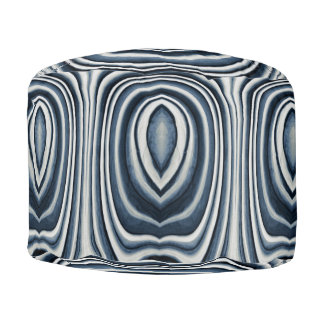 Earth Toned Blue Abstract Pattern Pouf