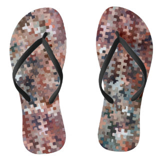 Earth Toned Multicolored Abstract Pattern Thongs