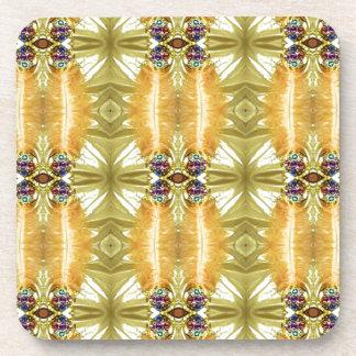 Earth Toned Yellow Green Tribal Pattern Coaster