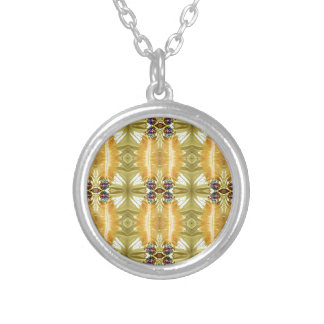 Earth Toned Yellow Green Tribal Pattern Silver Plated Necklace