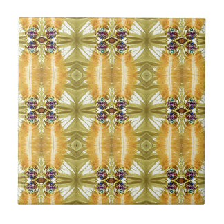 Earth Toned Yellow Green Tribal Pattern Small Square Tile