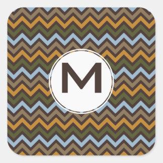 Earth Tones Chevron Pattern Square Sticker