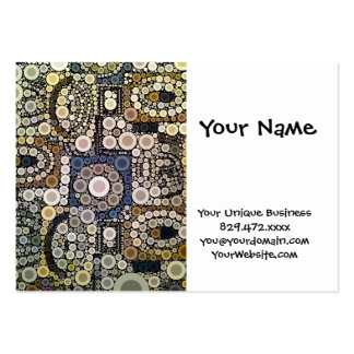 Earth Tones Concentric Circles Mosaic Pattern Business Card
