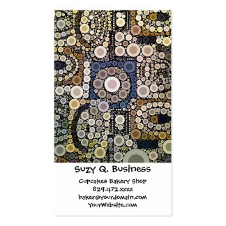 Earth Tones Concentric Circles Mosaic Pattern Business Card Templates