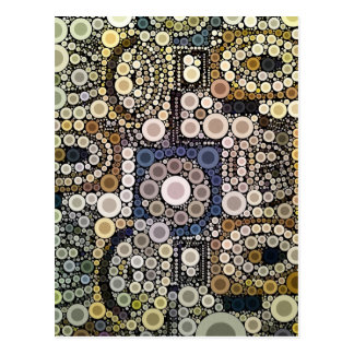 Earth Tones Concentric Circles Mosaic Pattern Postcard