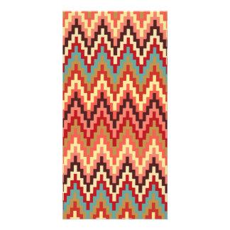 Earth Tones Ikat Chevron Zig Zag Stripes Pattern Custom Photo Card