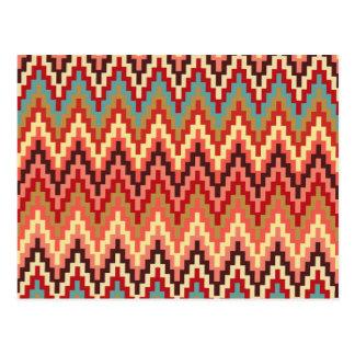 Earth Tones Ikat Chevron Zig Zag Stripes Pattern Postcard