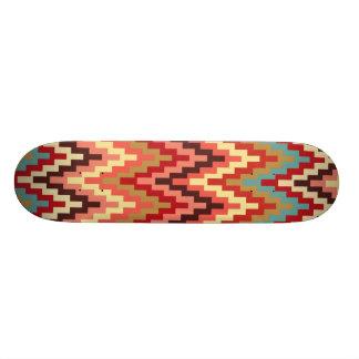 Earth Tones Ikat Chevron Zig Zag Stripes Pattern Skate Deck